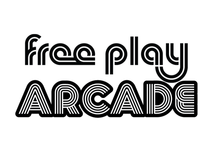black and white Free Play Arcade logo