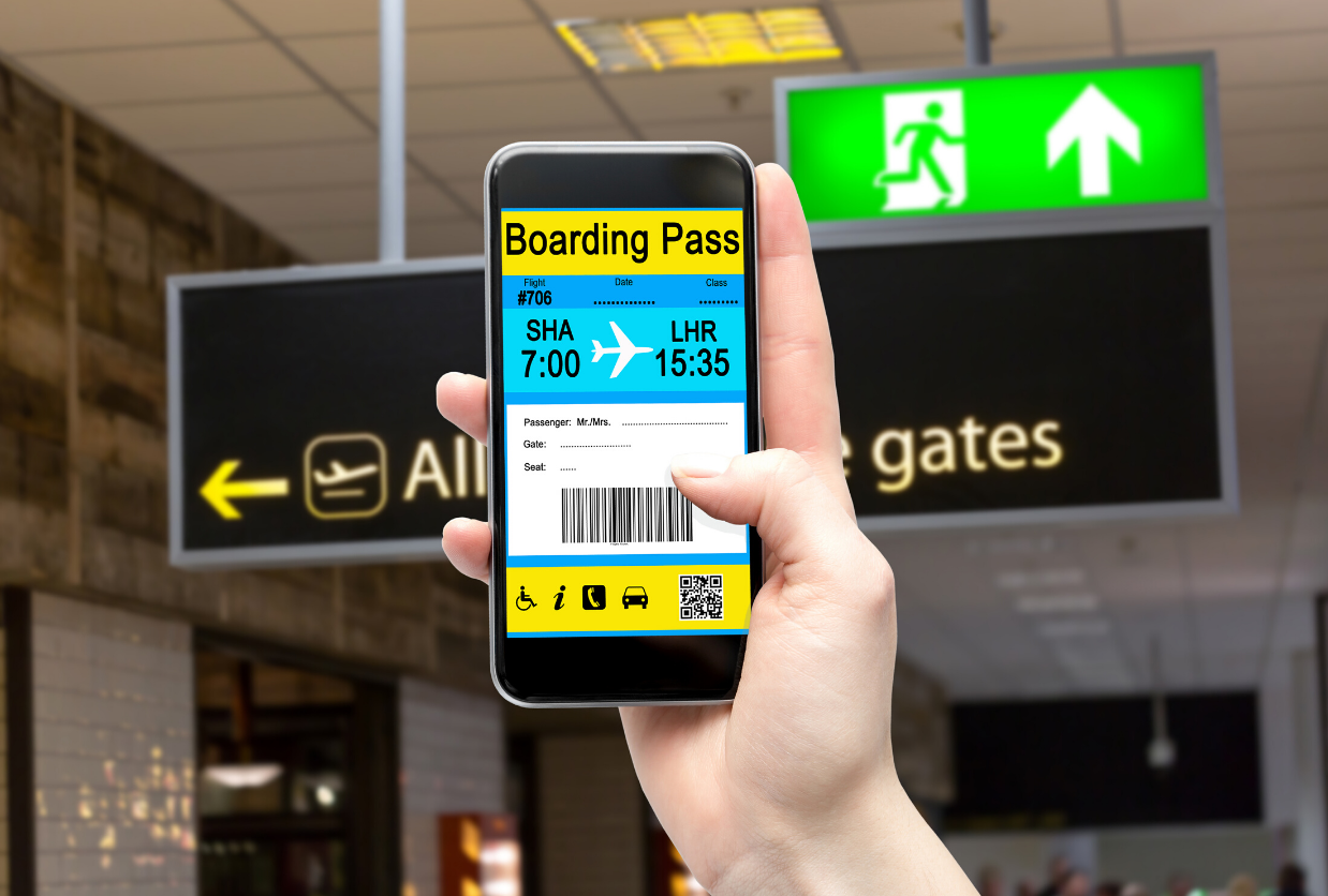 yellow and blue electronic boarding pass on cell phone